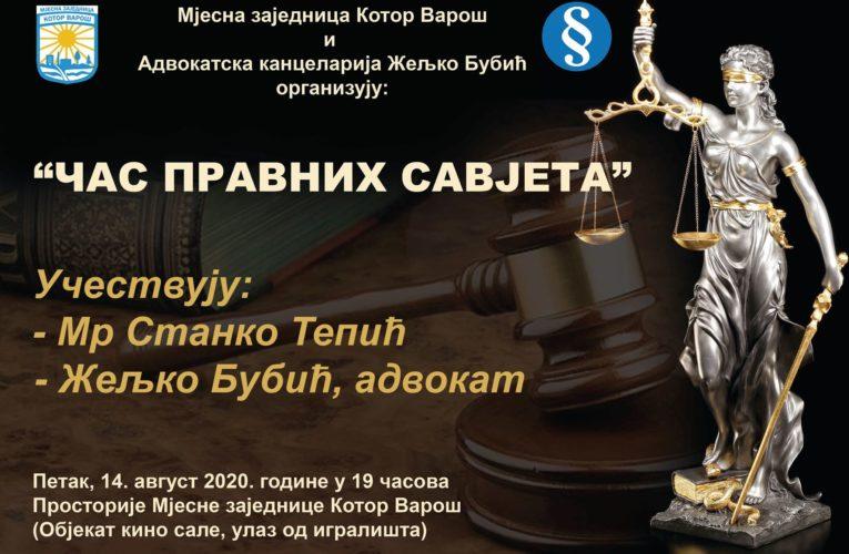 """МЗ Котор Варош: У петак """"Час правних савјета"""""""