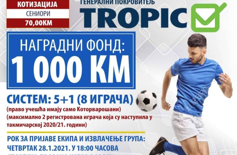 """Почињу пријаве за традиционални зимски турнир у малом фудбалу """"Котор Варош 2021"""""""
